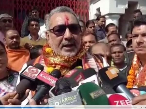 Union Minister Giriraj Singh speaking to media in Samablpur, Odisha on Saturday. (Photo/ANI)