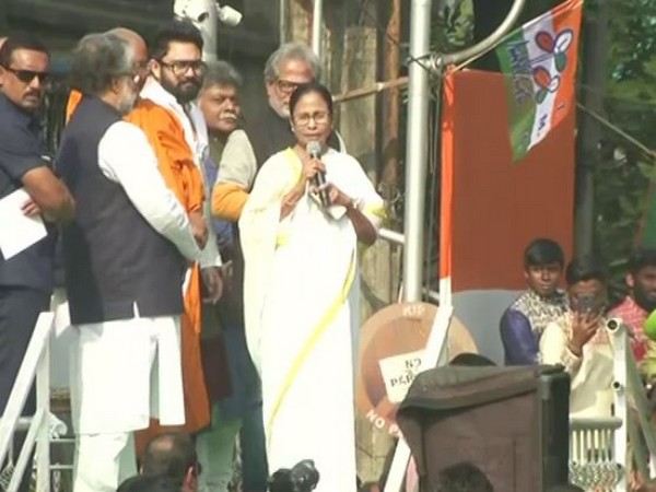 Chief Minister Mamata Banerjee at the rally in Kolkata on Tuesday (Photo/ANI)