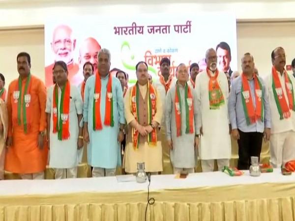 Bharatiya Janata Party (BJP) working PresidentJP Naddaon Sunday addressed party workers at Panvel. (Photo/ANI)