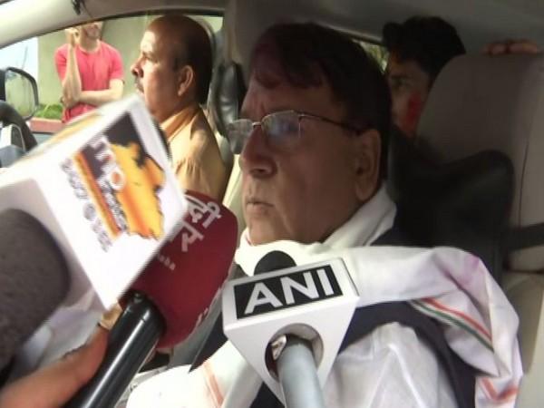 Madhya Pradesh Congress leader PC Sharma while speaking to the reporters (Photo/ANI)