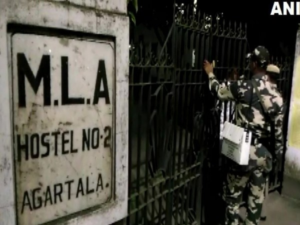 Security personnel searching for Badal Choudhury at the MLA Hostel (Photo/ANI)
