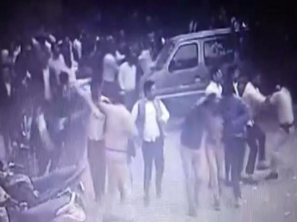 A CCTV visual from the Tis Hazari clash (Photo/CCTV Footage)