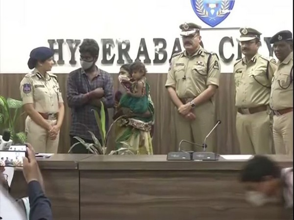 The girl and her parents with senior Police officials at the press conference