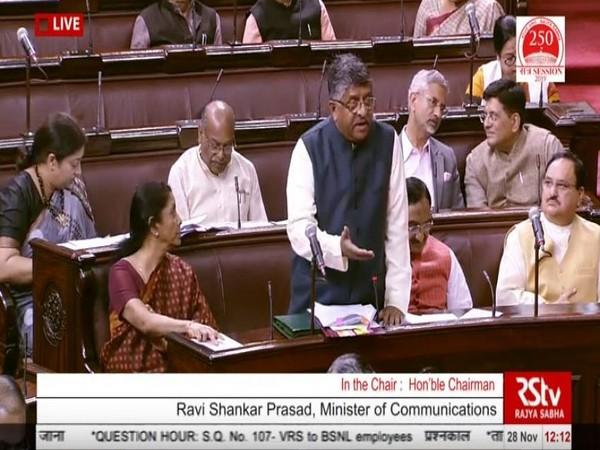 Union Minister Ravi Shankar Prasad while speaking in the Rajya Sabha on Thursday (Photo/ANI)
