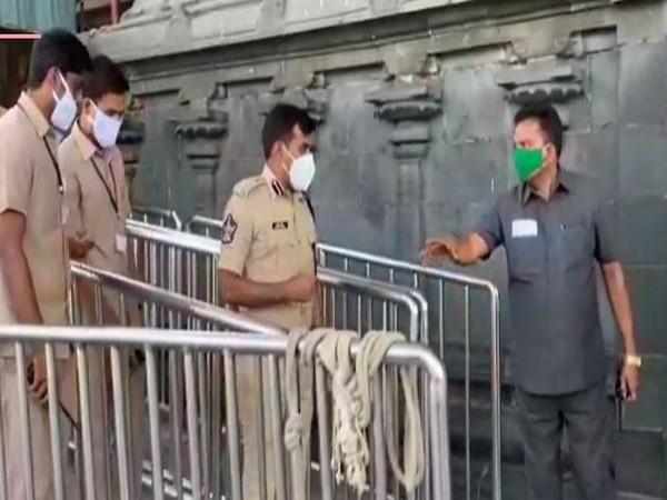 Tirupati Superintendent of Police (SP), Avula Ramesh Reddy inspected the preparedness at Andhra's Tirumala on Wednesday (Photo/ANI)