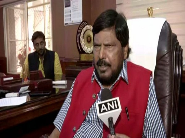 Union Minister Ramdas Athawale speaking to ANI in New Delhi on Tuesday. (Photo/ANI)