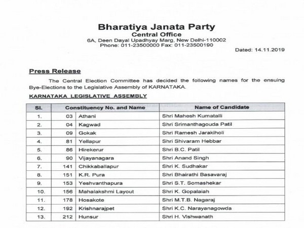 BJP announces names of 13 rebel MLAs (disqualified) as its candidates for Karnataka by-elections