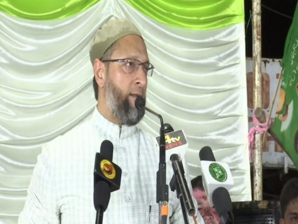 AIMIM MP Asaduddin Owaisi addressing a public meeting in Hyderabad on July 5. Photo/ANI