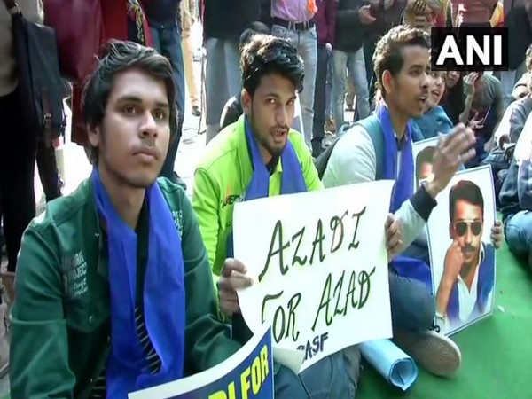 The members of Bhim Army Students' Federation held a protest at the Jantar Mantar in New Delhi on Sunday. Photo/ANI