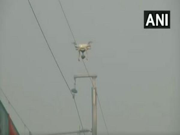 Drone camera monitoring the situation at Tikri border on Saturday. (Photo/ANI)