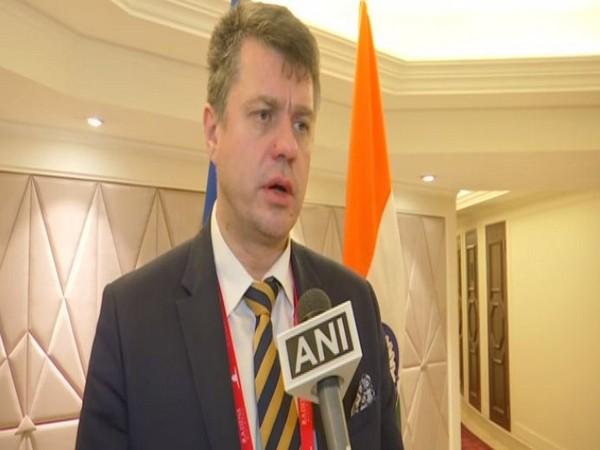 Estonia Foreign Minister Urmas Reinsalu talking to ANI in New Delhi on Wednesday. Photo/ANI