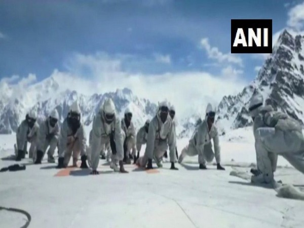 Indian Army personnel perform yoga in Siachen glacier