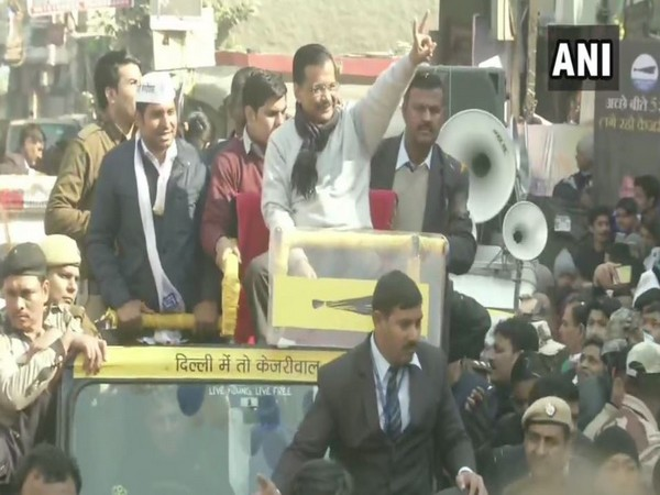Chief Minister Arvind Kejriwal during a roadshow in Dwarka (Photo/ANI)