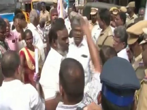 Members of TNUEF organised a protest against the release of 17 convicts in the Melavalavu murder case. Photo/ANI