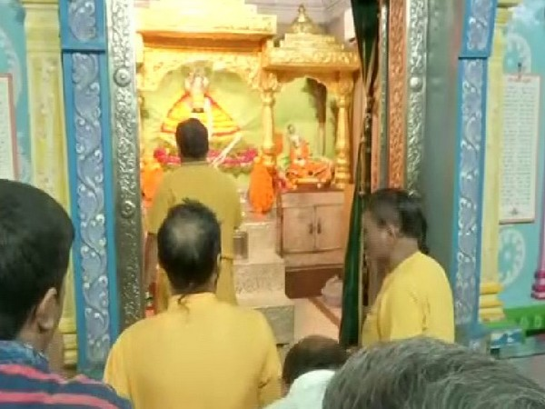 People celebrating Janmashtami in Srikrishna temple in Hyderabad on Friday Photo/ANI