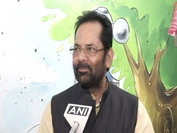 Union Minister Mukhtar Abbas Naqvi speaking to ANI in New Delhi on Monday. (Photo/ANI)