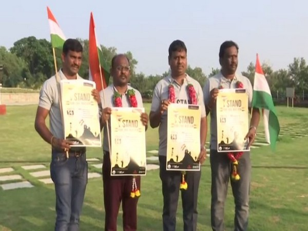 Four men who completed 'Bharat Yatra' in Hyderabad on Sunday. Photo/ANI