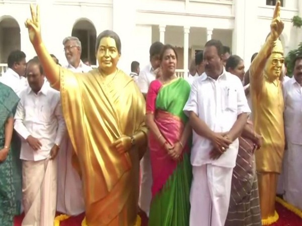 AIADMK workers celebrating at party headquarters in Chennai on Friday. Photo/ANI