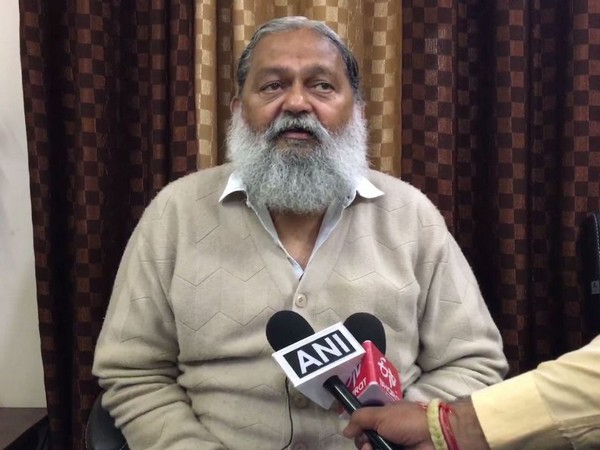 Haryana Health Minister Anil Vij talking to reporters on Saturday.