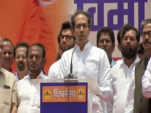 Shiv Sena Chief Uddhav Thackery delivering a speech during the protest in Mumbai on Wednesday (Photo/ANI)
