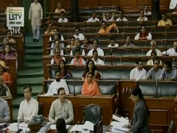 A view of Lok Sabha on Tuesday. (Photo courtesy: LS TV)