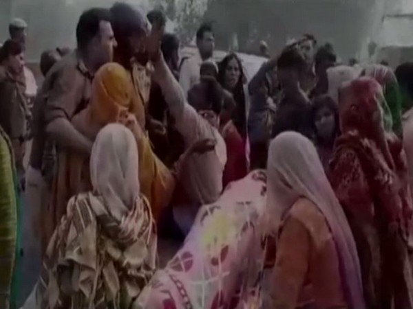 Family members of the cop staged a protest after receiving his body in Amroha, Uttar Pradesh (Photo/ANI)