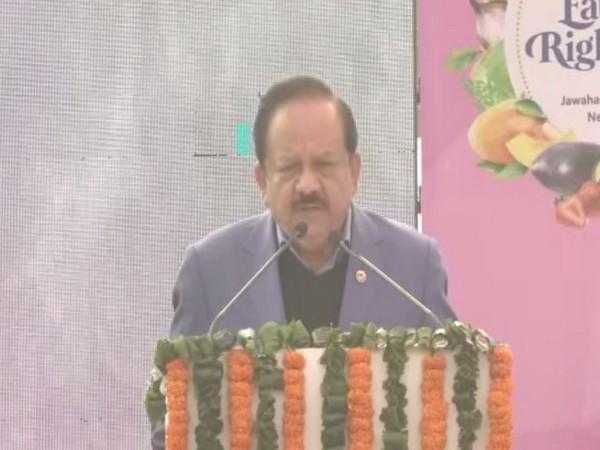 Union Health Minister Dr Harsh Vardhan speaking at 'Eat Right Mela' in New Delhi on Thursday. Photo/ANI