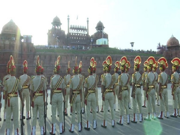 Security force personnel take part in full dress rehearsal for Independence Day at Red Fort. Photo/ANI