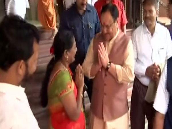 BJP working President JP Nadda visited Swaminarayan Temple, Mumbai on Sunday. (Photo/ANI)