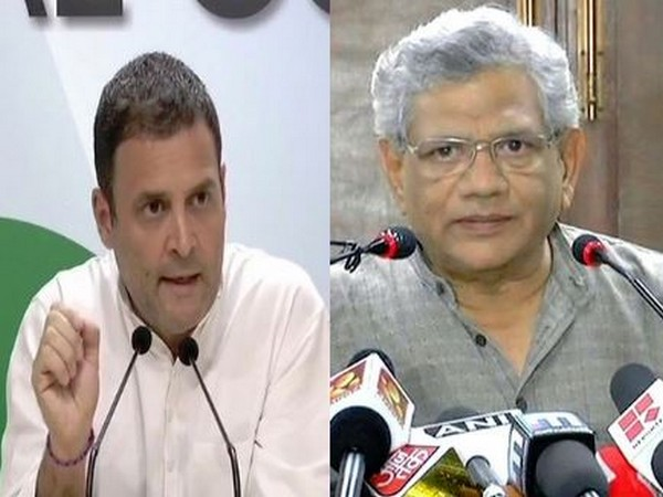 Congress president Rahul Gandhi and Communist Party of India (Marxist) leader Sitaram Yechury. (File Pic)