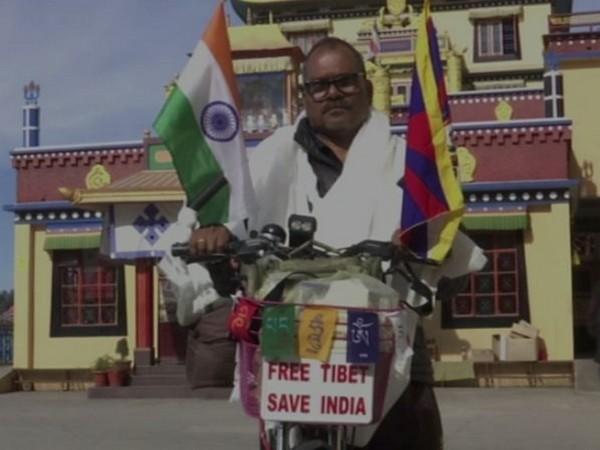 Indian crusader for Tibetan cause, Sandesh Meshram (Photo/ANI)
