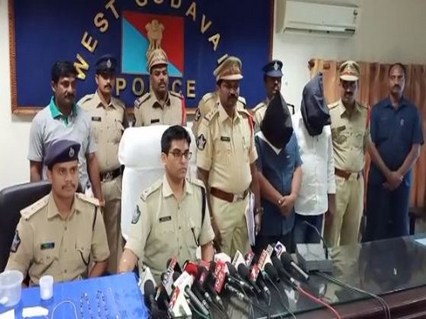 Andhra Pradesh police while addressing the reporters in a press conference (Photo/ANI)