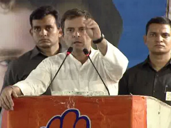 Congress President Rahul Gandhi addressing an election rally in New Delhi on Monday. Photo/ANI