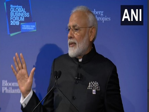 Prime Minister Narendra Modi during his address at the Bloomberg Global Business Forum on Wednesday. Photo/ANI