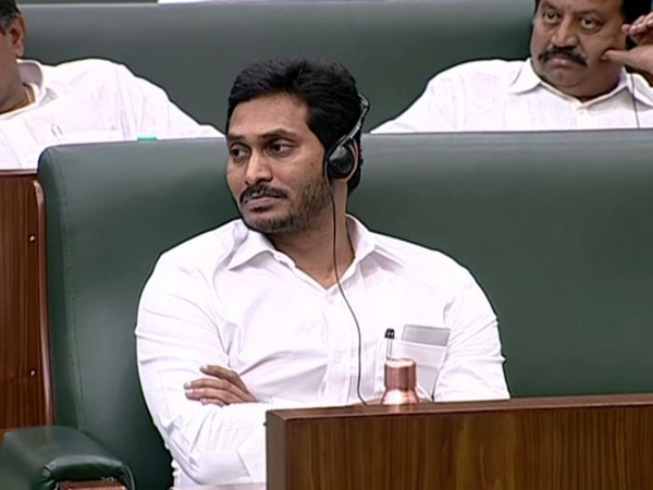 Andhra Pradesh Chief Minister YS Jagan Mohan Reddy in the assembly on Thursday (Photo/ANI)