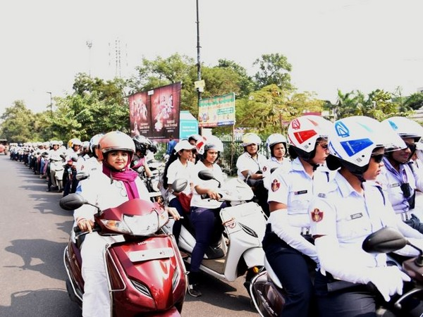 A view of all-women bike rally in Bhubaneswar on Saturday. Photo/ANI