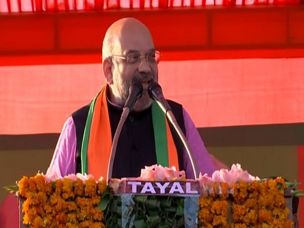 Home Minister Amit Shah while addressing a public rally in Chhatarpur on Thursday (Photo/ANI)