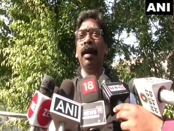Chief Minister of Jharkhand Hemant Soren while speaking to reporters in New Delhi on Saturday after meeting Prime Minister Narendra Modi. (Photo/ANI)