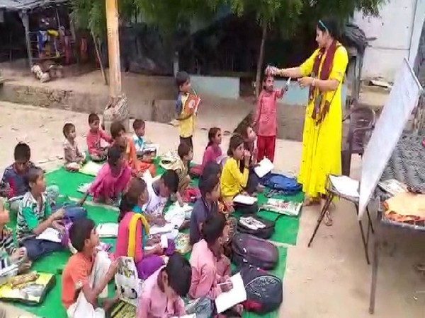 Visuals from Guddan Choudhary's special classes for unprivileged children in Khurja (Photo/ANI)