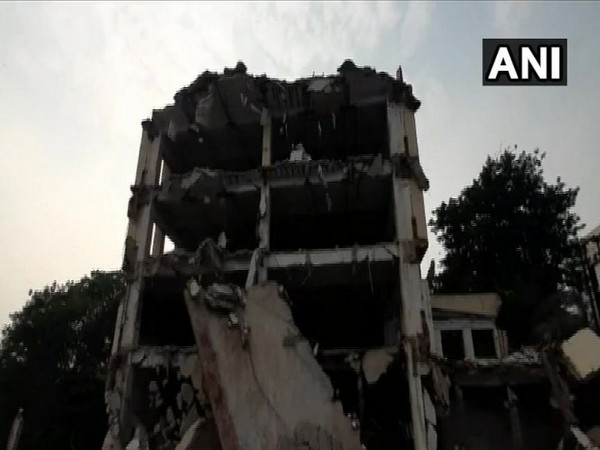 The front part of the building collapsed as its demolition work was underway. Photo/ANI