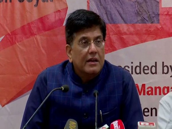 Union Minister Piyush Goyal while speaking to the reporters in Mumbai on Friday (Photo/ANI)