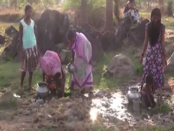 Villagers of Pakhnachua, Dantewada collecting water form an underground water source (Photo/ANI)