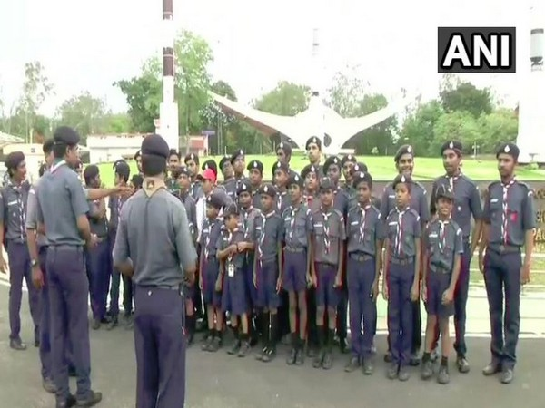 School children dressed as scouts in the Satish Dhawan Space Centre at Sriharikota in Andhra PRadesh. Photo/ANI