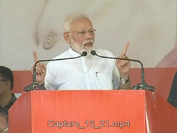 Prime Minister Narendra Modi speaking at a rally in Rohtak on Sunday. Photo/ANI