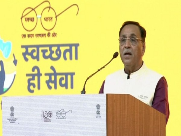 Chief Minister Vijay Rupani speaking during the event on Wednesday. (Photo/ANI)