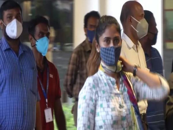 Filmmaker Aisha Sultana at Kochi Airport (Photo/ANI)