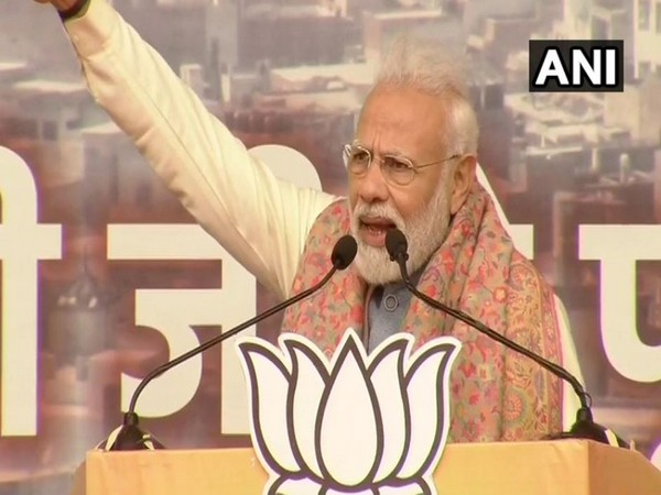 Prime Minister Narendra Modi addressing a public rally at Delhi's Ramlila ground on Sunday. Photo/ANI