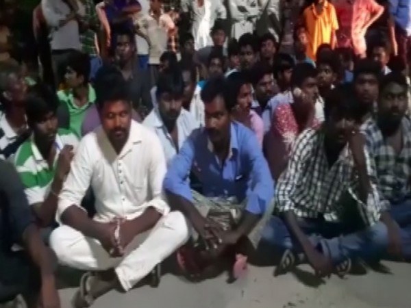 Villagers took to streets after a woman was allegedly molested by two men (Photo/ANI)