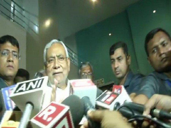 Chief Minister Nitish Kumar speaking to reporters in Patna on Monday. Photo/ANI