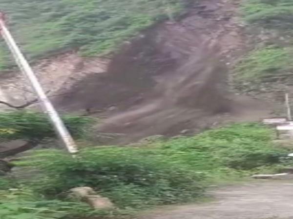 Landslide in Chamoli district on Thursday (Photo/ANI)